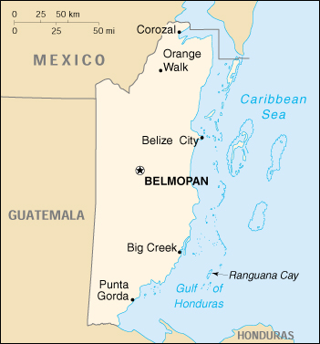 Belize Cartina Geografica