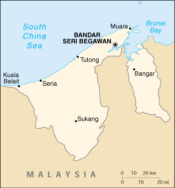 Brunei Cartina Geografica