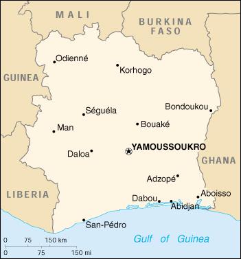 Mappa Costa d'Avorio - cartina geografica e risorse utili - Viaggiatori.net