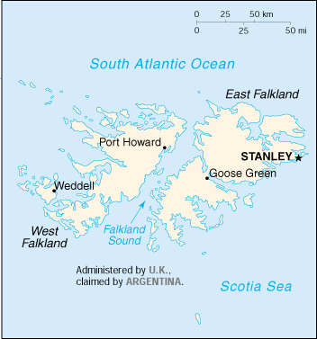 Isole Falkland Cartina Geografica
