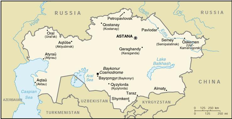 Mappa Kazakistan - cartina geografica e risorse utili ...