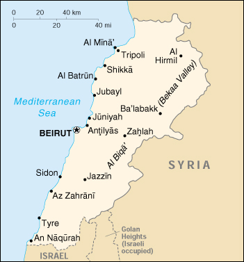 Libano Cartina Geografica