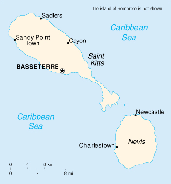 Saint Kitts e Nevis Cartina Geografica