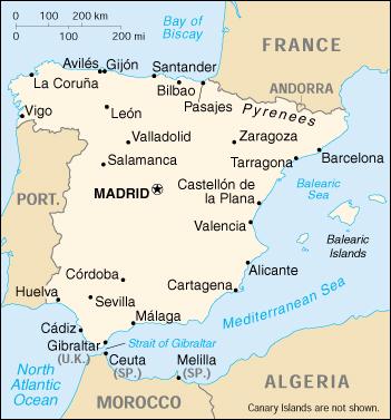 Mappa Spagna Oviedo.Mappa Spagna Cartina Geografica E Risorse Utili Viaggiatori Net